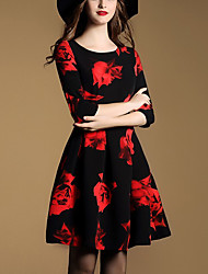 Women's Going out Street chic A Line DressFloral Round Neck Above Knee  Sleeve Black Polyester Fall / Winter