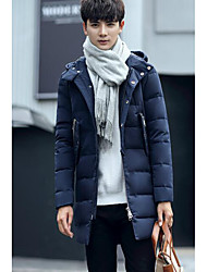 Men's Down Coat,Simple Casual/Daily Solid-Polyester White Duck Down Long Sleeve Hooded Blue / Brown