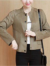 Women's Casual/Daily Street chic Jackets,Solid Round Neck Long Sleeve Fall / Winter Blue / Beige / Green Polyester Thick