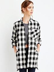 Women's Going out Street chic Fall Shirt,Check Shirt Collar Long Sleeve Black Polyester Medium
