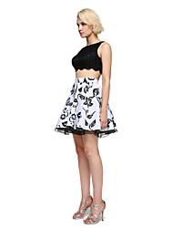 2017 TS couture® выпускного вечера коктейль платье партии линии Бато короткий / мини-шифон / кружева
