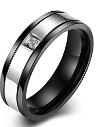 Ringe Hochzeit / Party / Alltag / Normal / Sport Schmuck Edelstahl / Zirkon Herren Ring 1 Stück,7 / 8 / 9 / 10 Schwarz