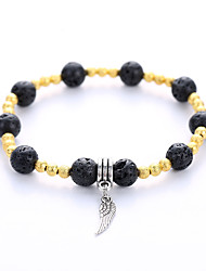 Volcano Stone Bracelet And Retro Original Manual SingleString Alloy Pendant Bracelet
