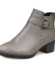 Women's Boots Fall / Winter Comfort PU Casual Chunky Heel Imitation Pearl / Hook & Loop Black / Gray Others