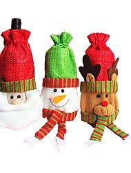 natal ornamento vermelho vinho velho sacos de garrafa de design boneco de Papai Noel alces para casa partido tabela de decoração