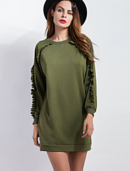 Women's Casual/Daily Simple Long Hoodies,Solid Green Crew Neck Long Sleeve Cotton / Rayon Fall / Winter Medium Inelastic
