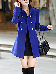 Women's Work Vintage Coat,Solid Stand Long Sleeve Fall / Winter Blue / Red / Green Wool / Cotton