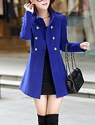 Feminino Casaco Trabalho Vintage Outono / Inverno,Sólido Azul / Vermelho / Verde Lã / Algodão Colarinho Chinês-Manga Longa