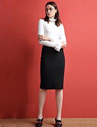 Damen Röcke - Einfach Knielang Kunstseide / Polyester / Elasthan Mikro-elastisch