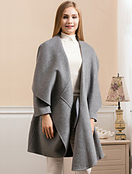 Women's Going out Simple Coat,Solid V Neck Long Sleeve Winter Blue / Gray Wool Thick