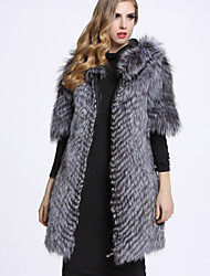 BF-Fur Style  Women's Casual/Daily Sophisticated Fur CoatSolid Shirt Collar  Length Sleeve Winter Gray Fox Fur