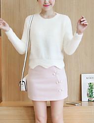 Damen Standard Pullover-Lässig/Alltäglich Niedlich Solide Rosa / Weiß / Orange / Lila Rundhalsausschnitt Langarm Polyester Herbst / Winter