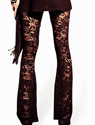 Women's Wide Leg  Stitching Lace Legging,Others Polyester