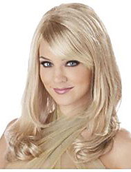 Fashion Long Wavy Blonde Color Wig with Bangs Synthetic Wig Caps for Women