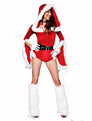 Santa Suits Festival/Holiday Halloween Costumes Red / White Solid Dress / Hat / Belt / Leg Warmers Christmas Terylene