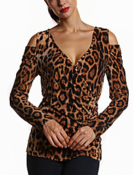Spring Fall Women's Tops V Neck Long Sleeve Sexy Leopard Tops Ladies Fashion Casual T-Shirt Brown