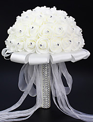 Set of 1 PCS A Bouquet Simulation Roses Wedding Bouquet Wedding Bride Holding Flowers White  Long 9.84(inch)
