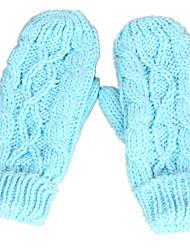 hiver tricot gants de torsion (bleu)