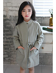 Girl Casual/Daily Solid Trench Coat,Polyester Fall Long Sleeve Long