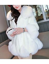 Feminino Casaco de Pelo Casual Simples Primavera / Inverno,Sólido Rosa / Branco / Cinza Pêlo Sintético Decote Redondo-Manga Longa Grossa