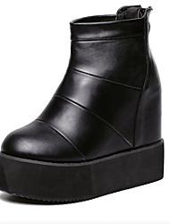 Women's Boots Winter Platform PU Casual Wedge Heel Platform Black Gray