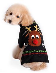Gatos Perros Suéteres Negro Ropa para Perro Invierno Primavera/Otoño Reno Adorable Vacaciones Navidad