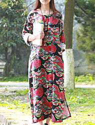 Cynthia Women's Casual/Daily Chinoiserie Loose DressPrint Round Neck Maxi Long