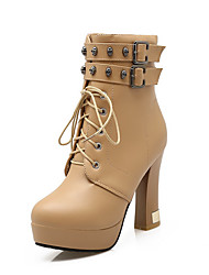 Women's High Heels Solid Round Closed Toe Zipper Boots