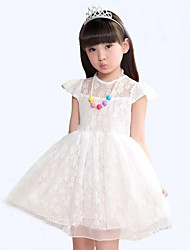Girl's Casual/Daily Solid Dress,Cotton Summer Pink / White / Yellow