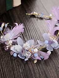 Women's Feather / Rhinestone / Alloy / Imitation Pearl / Fabric Headpiece-Wedding / Outdoor Headbands 1 Piece
