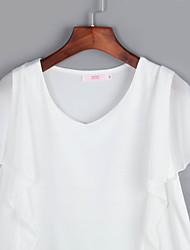 Damen Solide Street Schick Lässig/Alltäglich T-shirt,V-Ausschnitt Sommer Ärmellos Weiß / Schwarz Baumwolle / Kunstseide Dünn