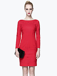 GATHER BEAUTY Women's Going out Simple Sheath DressEmbroidered Round Neck Knee-length Long Sleeve Blue / Red Cotton / Rayon Fall High Rise Inelastic