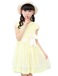 Girl's Casual/Daily Solid Dress,Linen Summer Short Sleeve