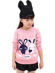 Girl's Cotton Spring/Fall Sweet Fashion Casual/Daily Cartoon Print Long Sleeves Round Neck Sweater Cardigan