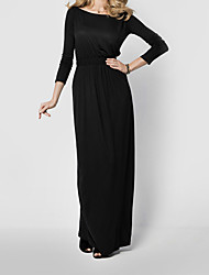 Women's Casual/Daily Sexy / Vintage A Line Dress,Solid Boat Neck Maxi Long Sleeve Black / Green Cotton Fall / Winter High Rise
