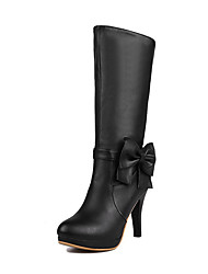Women's Round Closed Toe High-Heels Soft Material Mid-top Solid Boots
