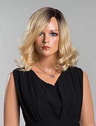 élégant mi-longueur perruques capless ondulées de haute qualité des cheveux humains couleur mélangée