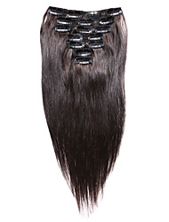 7 шт / комплект клип в наращивание волос темно-коричневый 14inch 18inch 100% человеческих волос для женщин