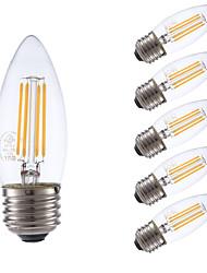 3.5 E26/E27 Ampoules à Filament LED B 4 COB 350 lm Blanc Chaud Gradable V 6 pièces