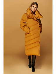 Women's Long Down Coat,Simple Casual/Daily Solid-Polyester White Duck Down Long Sleeve Notch Lapel