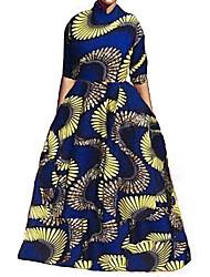 Mujer Vintage Formal / Playa Otoño / Invierno Conjunto Falda Trajes,Cuello Camisero Estampado 1/2 Manga Poliéster Azul Opaco