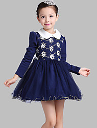 A-line Short / Mini Flower Girl Dress - Cotton / Tulle Long Sleeve Jewel with Appliques / Embroidery