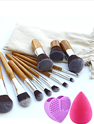 11pcs Makeup Brushes Set Professional Blush/Powder/Foundation Brush with Environmental Protection Bag Water Droplets Powder Puff Purple Brush Egg
