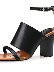 Damen-High Heels-Kleid / Lässig-PU-Blockabsatz-Gladiator-Schwarz / Weiß / Schwarz und Weiss