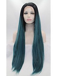 Sylvia Synthetic Lace front Wig Black Roots Green Hair Ombre Hair Heat Resistant Long Sraight Synthetic Wigs