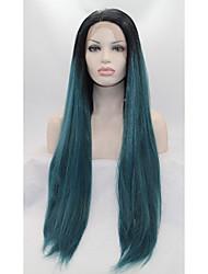 Mujer Pelucas sintéticas Encaje Frontal Liso Verde Peluca natural Las pelucas del traje