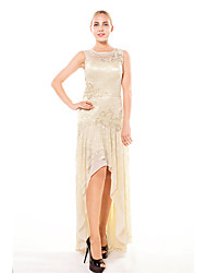 Formal Evening Dress Trumpet / Mermaid Scoop Asymmetrical Lace with Beading