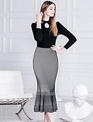 Jupes Aux femmes Mi-long simple Coton Elastique