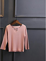 Girl's Casual/Daily Solid BlouseCotton Spring / Fall Pink / White