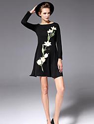 Trapèze Robe Femme Décontracté / Quotidien Vintage,Fleur Col Arrondi Mini Manches Longues Noir Coton Automne / Hiver Taille Haute
